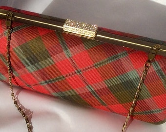 Pink clutch bag - Green clutch bag - McNaughton clutch bag - Tartan clutch bag - Plaid clutch bag - Plaid evening bag