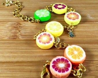 Polymer clay citrus charm bracelet