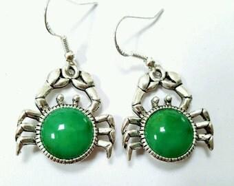 Crab earrings, seaside earrings, crab jewelry, green seaside jewelry, beach jewelry, green crab earrings, cancer earrings, horoscope jewelry