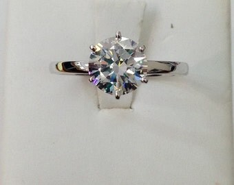 2 Carat CZ Engagement Ring - Solid 14K White Gold - Made to Order
