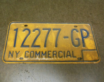 Vintage New York State Commercial License Plate 12277-GP - Gold and Blue Automotive Transportation Car Collectible