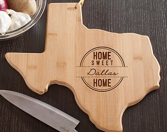 Any State Shaped Bamboo Cutting Board, Custom Cutting Board, Gift Custom Cutting Board,  Cheese Board, Cheeseboard Serving Tray