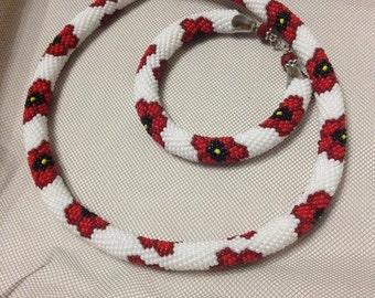 """Bead crochet pattern necklace  """"Poppies field"""""""
