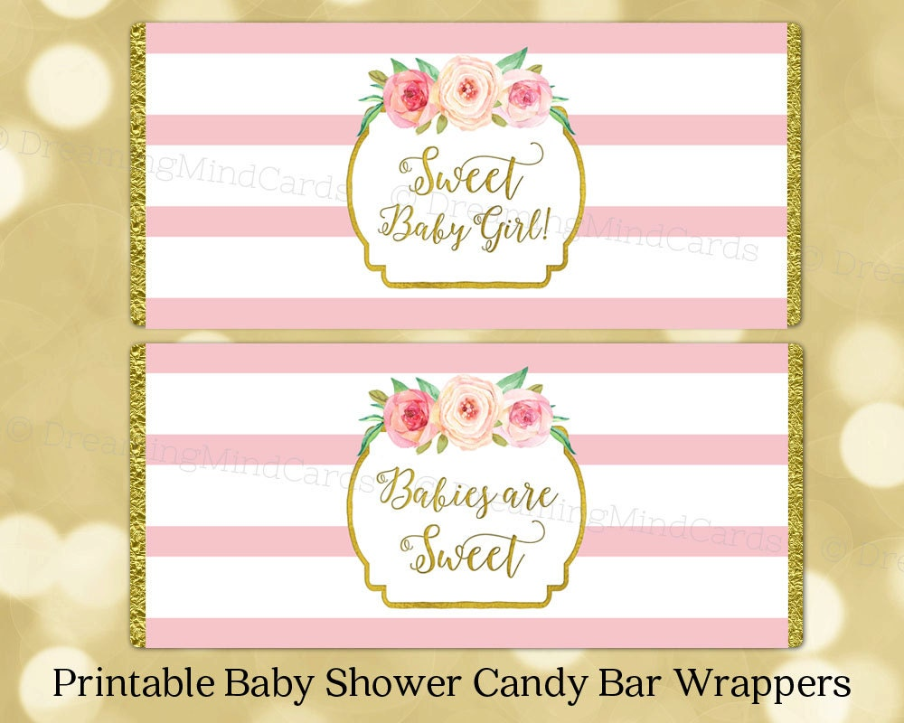 Adorable image intended for free printable baby shower candy bar wrappers