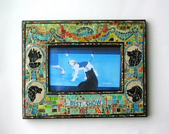Best in Show Decoupage Mosaic Frame with opening 5 1/2 by 3 1/2 inches