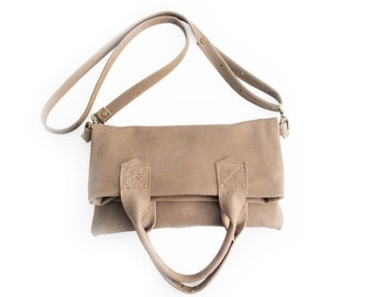Leather CROSSBODY bag made of italian leather  color brown, dove-grey. Laura leather crossbody and hand bag