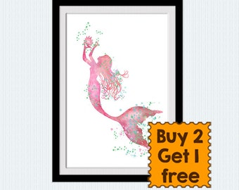 Mermaid print Little mermaid art poster Ocean fantasy art decor Disney watercolor print Home decoration Child room wall art Gift idea W735