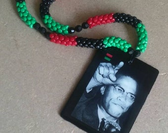 RBG Malcolm X red black and green beaded necklace
