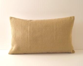 Linen-Silk Pillow Ochre/Cream 30x50 cm