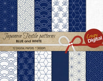 Japanese Pattern Digital Paper Printable Traditional Patterns Blue and White 12pcs 300dpi Instant Download Collage Sheets Scrapbooking