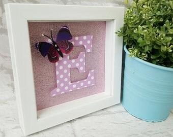 Initial Frame - Letter Frame - Girls - Gift Frame - Christening Gift - New Baby Gift - Personalised Frame