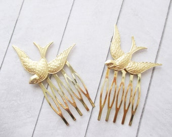 Gold swallow bird hair combs Sparrow bird Hair Accessories Woodland Wedding Raw Brass Bird Hair Clip Bridesmaids Bridal Gift