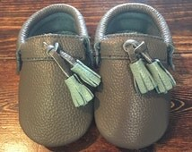 Moccasins, Baby Moccasins, Toddler Moccasins, Gray & Blue Moccasins, Leather Baby Moccasins, Tassel Moccasins, Baby Shoes, Baby Gift, moccs