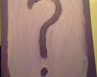 Original oil purple question mark painting