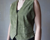 Suede Leather Womens Vest Olive Green Suede Leather Vest Vintage Country Cowboy Western Waistcoat Size M
