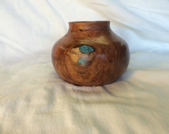 Hollow vessel, mesquite with turquoise inlay