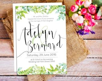 Green Forest Wedding Invitation Suite, Green Rustic Wedding, DIY Wedding Invitation Set, printable wedding, Customizable Wedding Invites