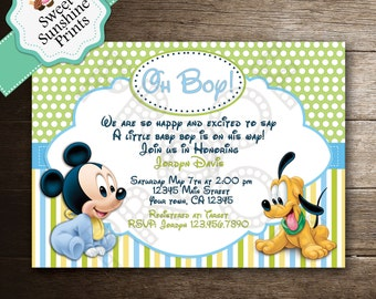 Mickey Mouse Baby Shower Invitation - Baby Boy - Blue - Baby Mickey