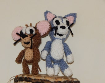 Sale  12 each or two for 24, Tom and Jerry Inspired crochet figures, amigurumi
