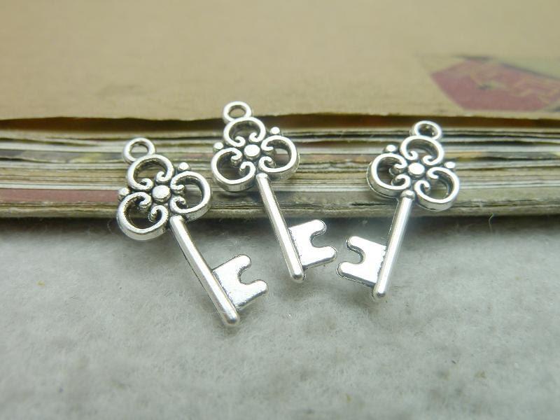 bulk 50 key charms antique silver tone