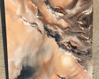 Abstract Oil Painting  Earth Tones 36in  x 24in x 3/4 in
