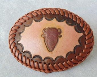 Leather Belt Buckle - Buffalo Head