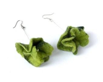 Felted flower earrings felted earrings felt flower green gift nunofelt wet felted felt jewelry felted jewelry felted flower  OOAK silver