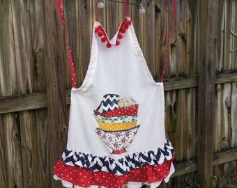 Ruffled flour sack apron
