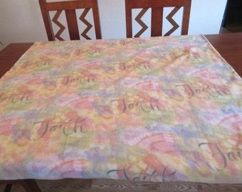 """Colorful Handmade Fleece """"Faith"""" Blanket 42 1/2"""" x 62"""""""