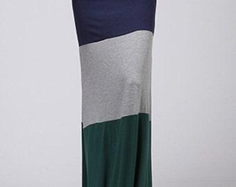 S511 Full Length Multi Color Blocked Long Maxi Skirt (Made in USA)