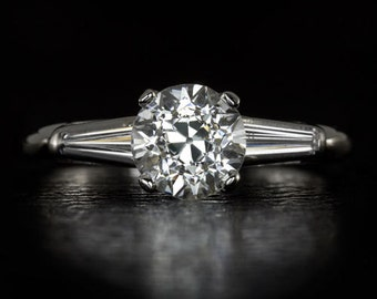 1.41ct Vintage Round Diamond EGL-USA Certified G SI2 Engagement Ring Platinum 8935