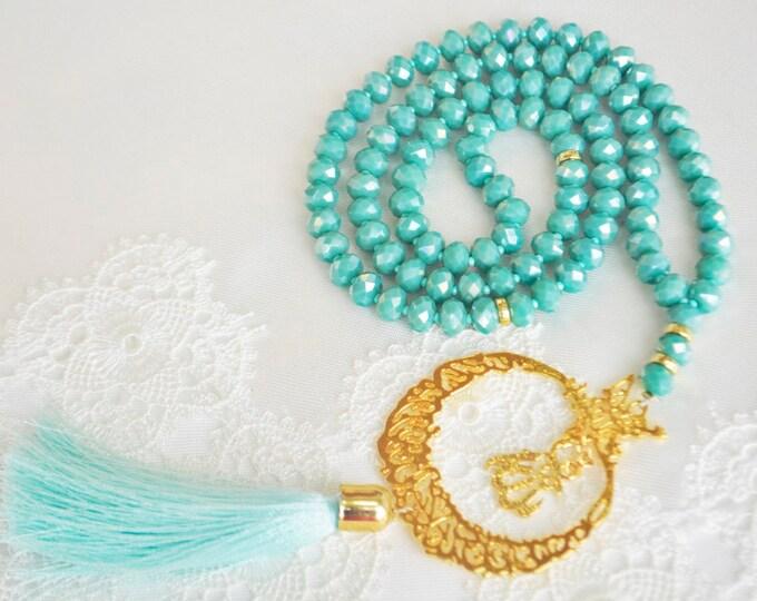 arabic crescent necklace, moon and star tasbeh, doa sibha , allah holly pendant ,light glittered bead hajj-umrah gift,religious spiritually