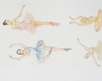 Design Washi tape ballerina dancer pastel wide