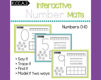 Number Mats 0-10 -- Count and Write Numbers -- CCSS K.CC.A.3