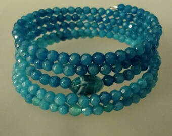 Shades of the sea gemstone wrap bracelet