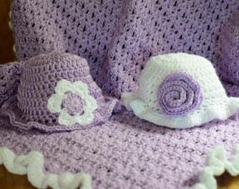 Crochet Baby Blanket: Lavender Fields Newborn Crocheted Gift Set
