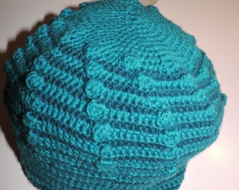 Spiral hat with two dots blue Merino and baby alpaca