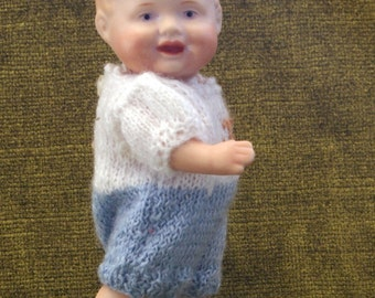 Porcelain Boy Doll in Hand-knitted Play-suit