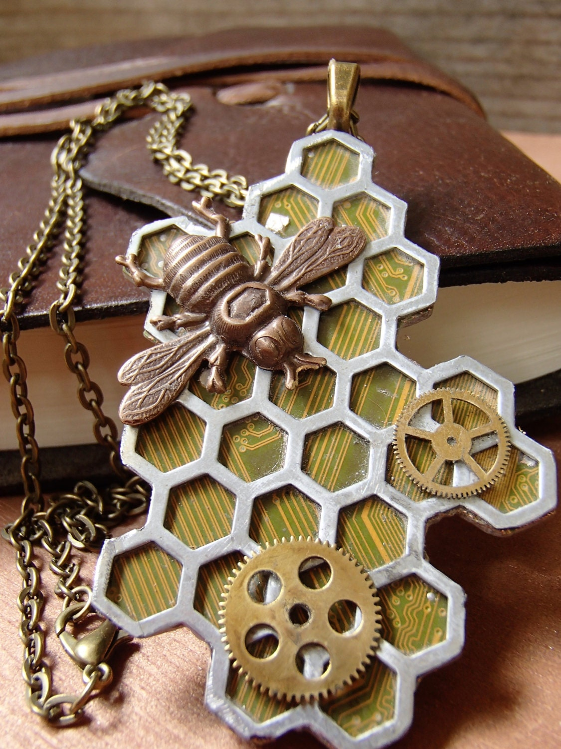 Recycled Circuit Board Clock Ask Answer Wiring Diagram Recycledcircuitboardlamp Honeycomb Bee Steampunk Gear And Circuitboard Pendant Piece Schutt Lamps