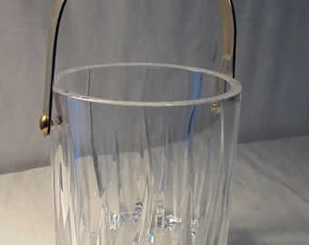 Vintage Cut and Etched Glass Ice Bucket with Silverplate Handle