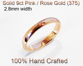 9ct 375 Solid Pink / Rose Gold Ring Wedding Engagement Friendship Half Round Band 2.8mm