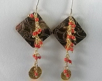 GF and coral drop earrings