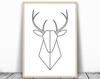 Geometric Deer Art, Deer Print, Minimalist Deer, Deer Head Print, Geometric Deer, Modern Deer Print, Printable Deer, Deer Printable Art