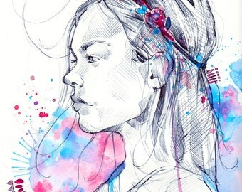 Lily III - Illustration (Print) | Girl Portrait | Aquarelle | Watercolor | Dessin | Drawing | Art Deco | Cute Illustration | Print |  Girl