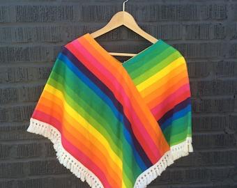 Rainbow Brite Poncho Cape