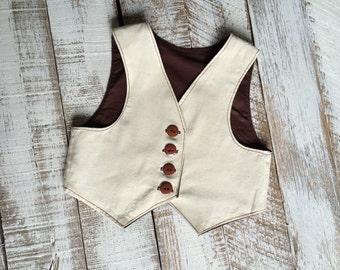 Reversible Linen and Brown Toddler Vest - Baby Full Vest - Boys Vest