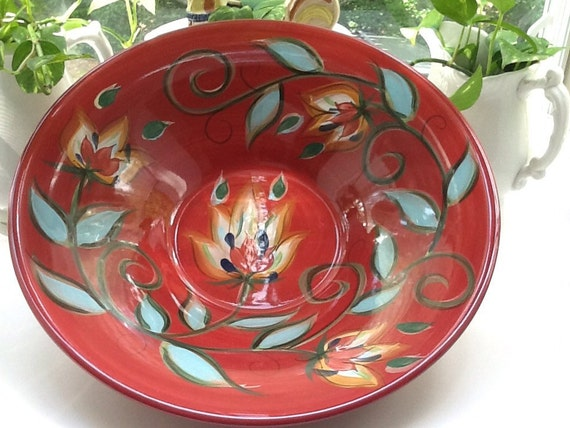 gorgeous southern living at home red bountiful serving bowl