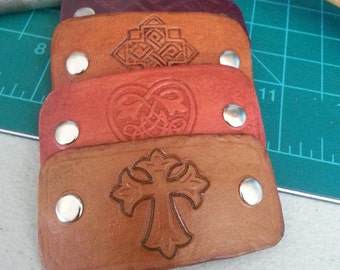 Hand tooled leather French barette