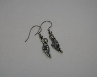 Angel wing charm dangle earrings
