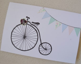 Vintage Bicycle Penny Farthing Card